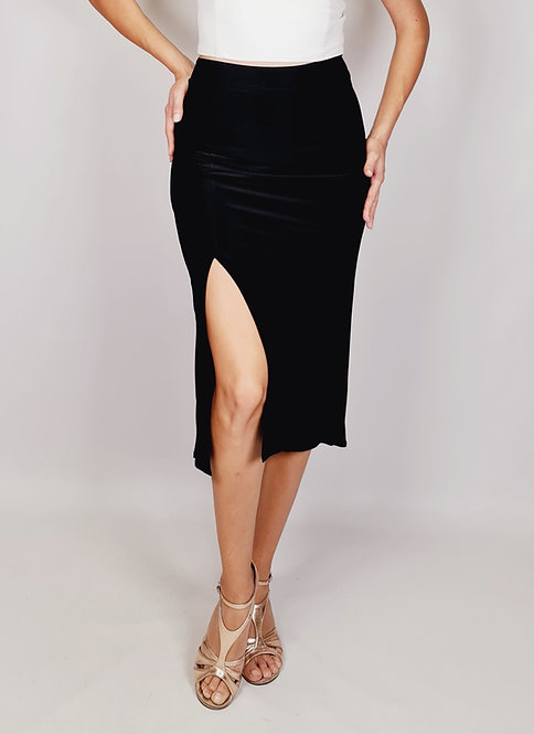 Chloe - Black Ruched Tango Skirt with Tail