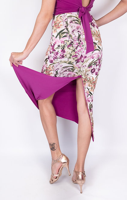 Sweet Capri Floral & Fuchsia Reversible Tango Skirt