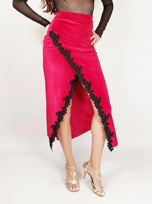 Nancy - Red Velvet Tango Show Skirt