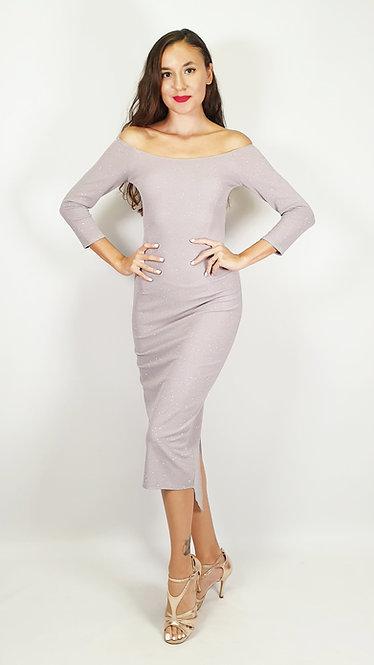 Megaera -  Off Shoulder Light Grey Shiny Tango Dress