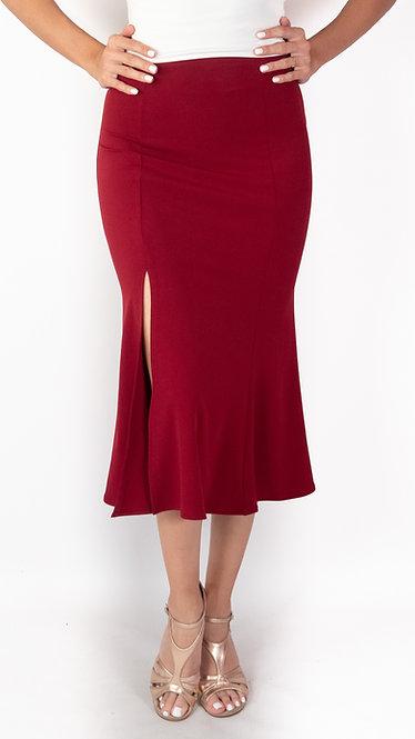 Alicia - Maroon Godet Tango Skirt