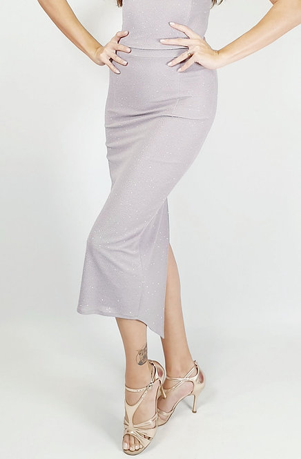 Megaera - Light Grey Ruched Shiny Tango Skirt