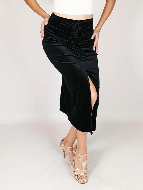 Claire - Black Velvet Tango Skirt