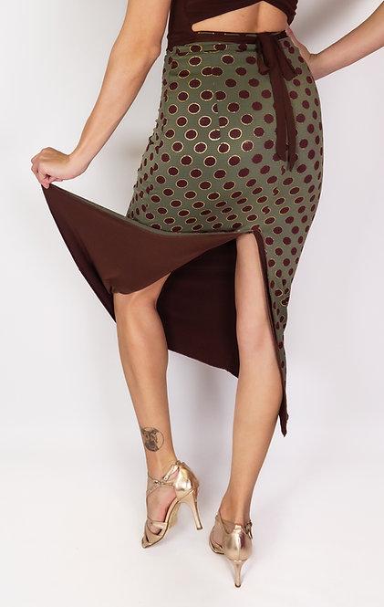 Brown Dotted Green Reversable & Dark Brown ReversableTango Skirt