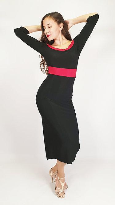 Evelyn - Black Off Shoulder Tango Dress
