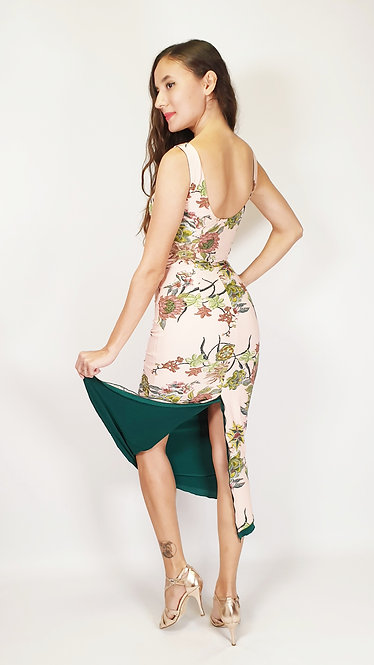 Malta Secrets Floral & Dark  Green Reversible Tango Dress