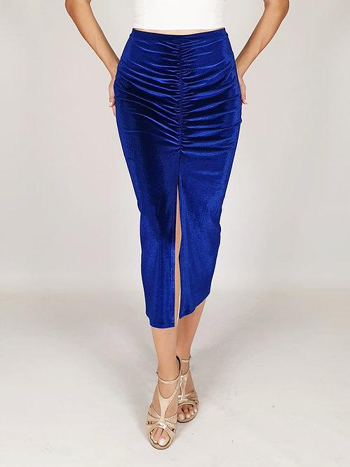 Claire - Sax Blue Velvet Tango Skirt