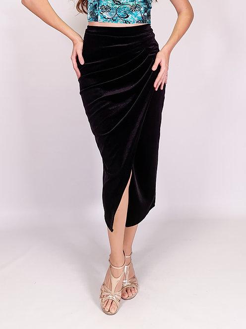 Caroline - Black Velvet Tango Skirt