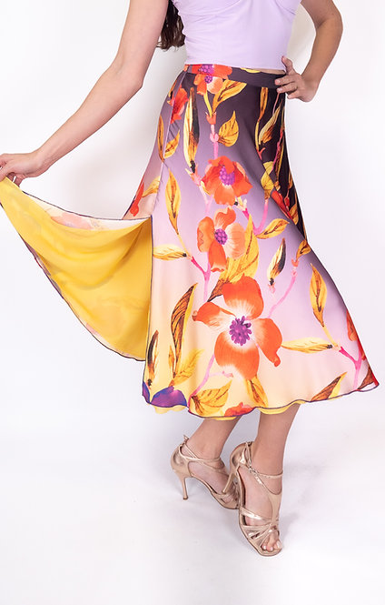 Flowy & Satin Tulip Garden Klosh Satin Tango Skirt