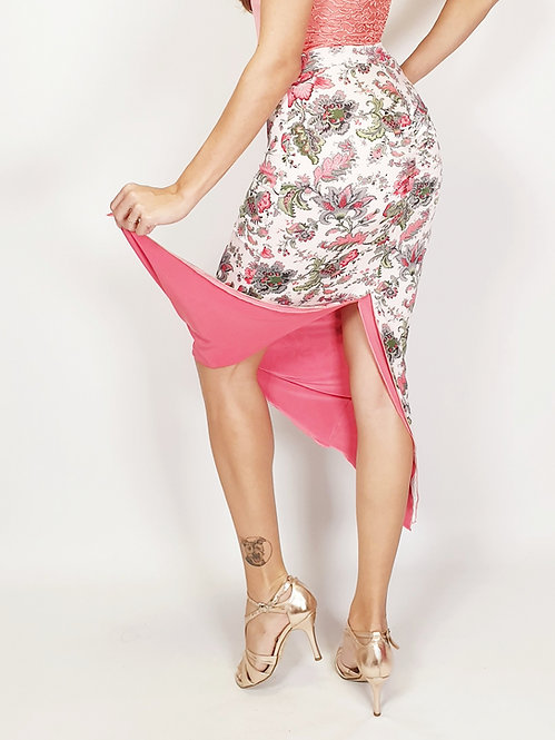 St. Petersburg the Great Floral & Coral Reversible Ruched Tango Skirt
