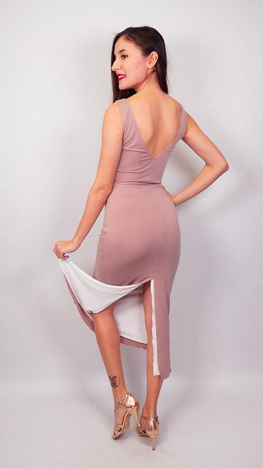 Melanie - Beige & White Reversible  Tango Dress