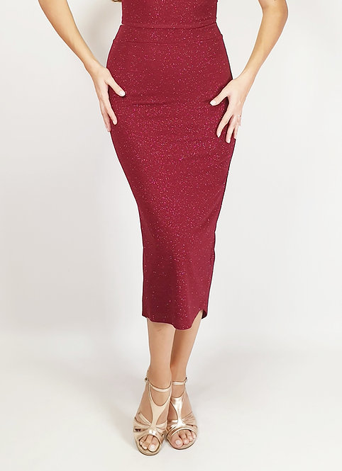 Euporia - Maroon Ruched Shiny Tango Skirt