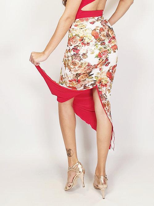 Casablanca Wind Floral & Red Reversible Tango Skirt