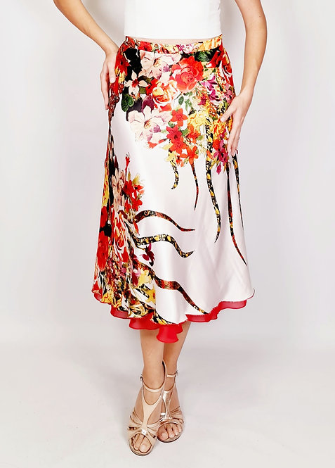 Flowy & Satin - Poppy Flower White Full Klosh Tango Skirt