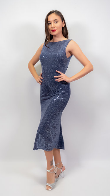 Karya - Cool Grey  Sequin Closed Neck Shiny Tango Dress