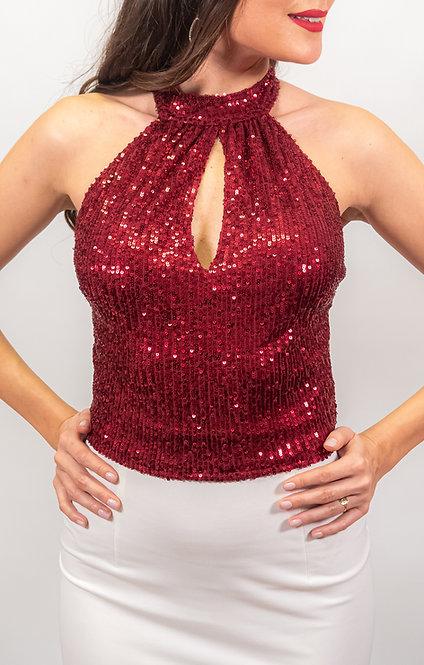 Mia - Maroon Sequin Tango Top