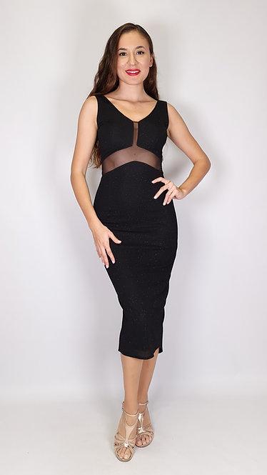 Athena - Black Transparent V Back Shiny Tango Dress