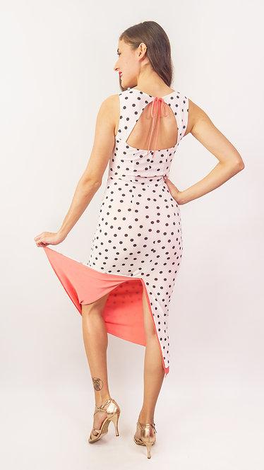 Black Dotted White & Coral Pink Reversible Tango Dress