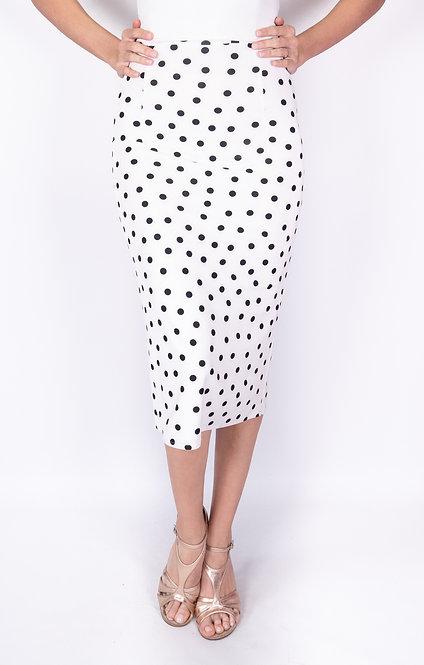 Black Dotted White Tango Skirt