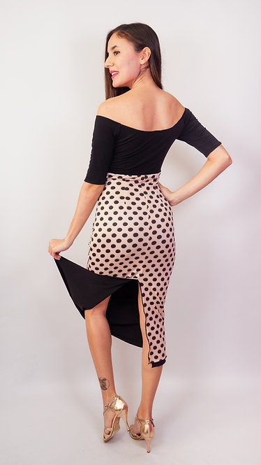 Black Dotted Salmon & Black Red Off Shoulder Tango Dress