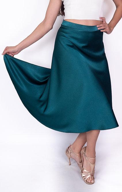 Flowy & Satin Petrol Green  Satin Klosh Tango Skirt