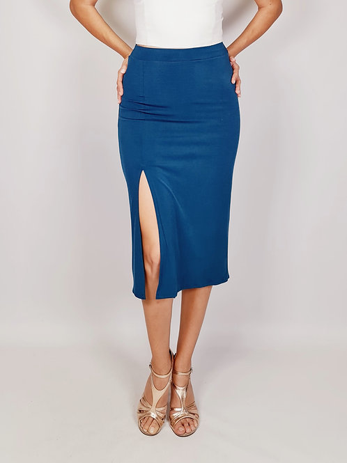 Chloe - Petroleum Blue Ruched Tango Skirt with Tail