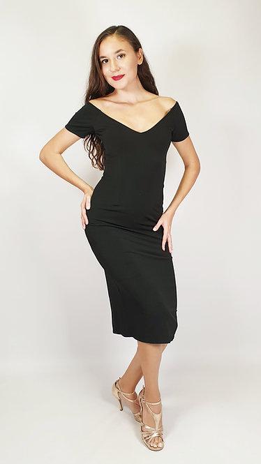 Emma - Black Off Shoulder Tango Dress