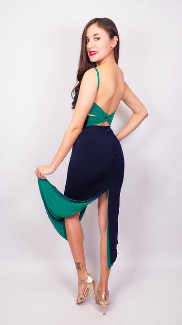 Lucia - Navy Blue / Emerald Green Twist Back Reversible  Tango Dress