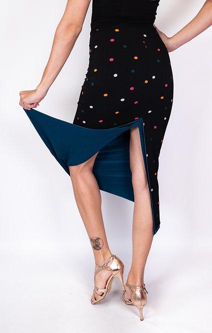 Colorful Dotted Black & Petrol Green Reversable Tango Skirt