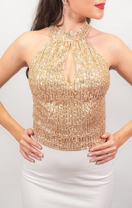 Mia - Gold Sequin Tango Top
