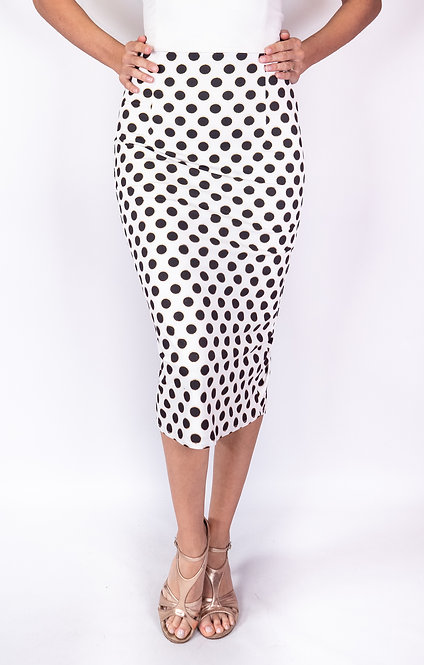 Black Dotted White Ruched Tango Skirt