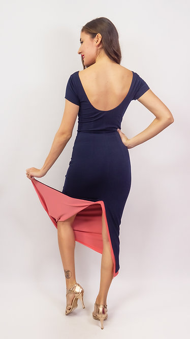 Angela Navy Blue & Coral Reversible  Tango Dress