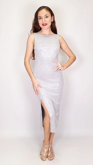 Thalia - Light Grey Sequin Closed Neck Sequin Tango Dress