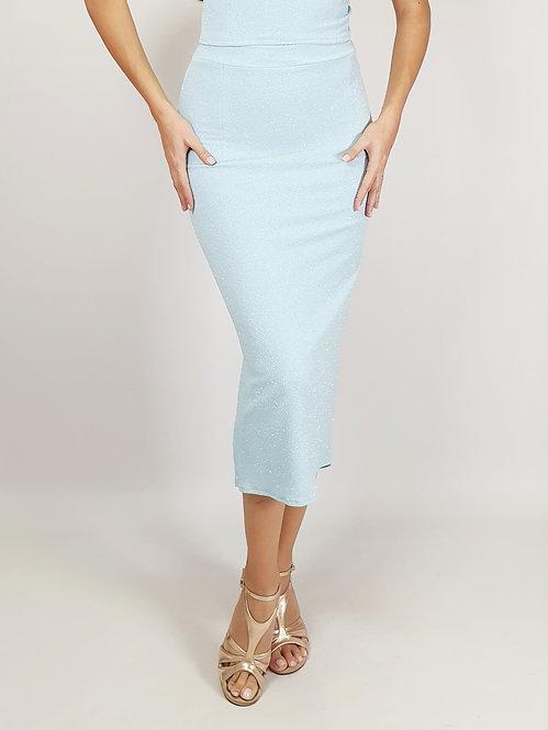 Aja - Baby Blue Rouched  Shiny Tango Skirt