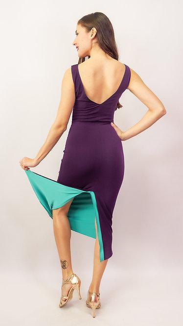 May Purple & Cyan Green Reversible  Tango Dress