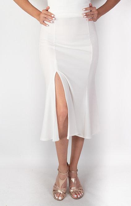 Alicia - White Godet Tango Skirt
