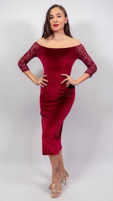 Amelia Marron Velvet Tango Dress