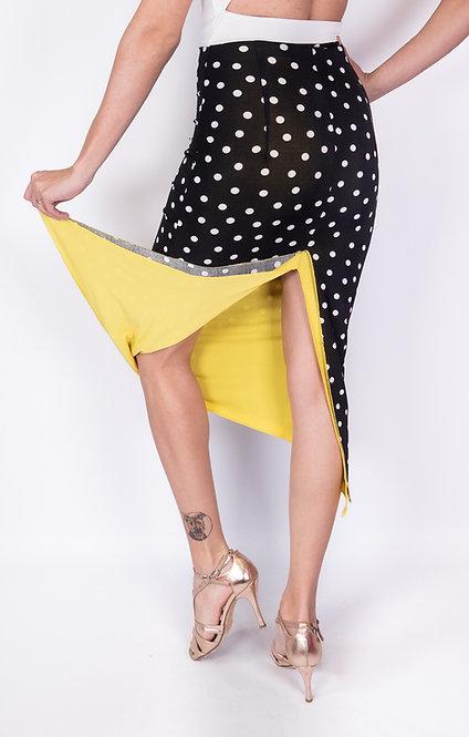 White Dotted Black & Yellow Reversable Tango Skirt