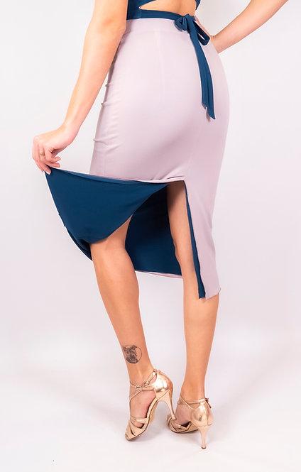 Stephanie Light Grey & Petrol Blue Reversible Classic Tango Skirt