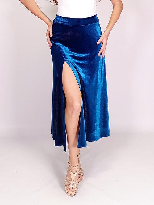 Lara - Petrol Blue Velvet Klosh Tango Skirt