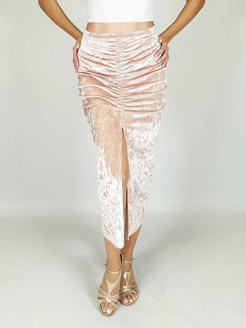 Claire - Light Pink Velvet Tango Skirt