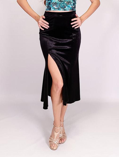 Alicia - Black Velvet Tango Skirt