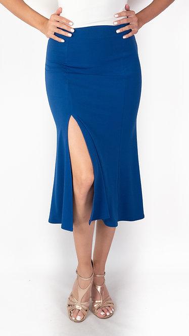 Alicia - Sax Blue Godet Tango Skirt