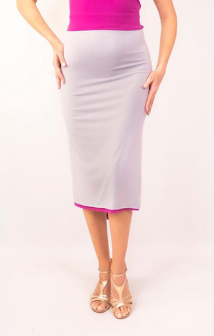 Amy Light Grey & Fuchsia  Fish Tail Tango Skirt