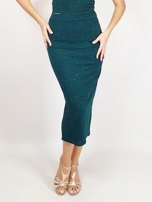 Daphne - Petroleum Green Ruched Shiny Tango Skirt