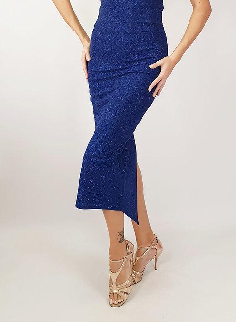 Gaia - Azure Blue Ruched Shiny Tango Skirt