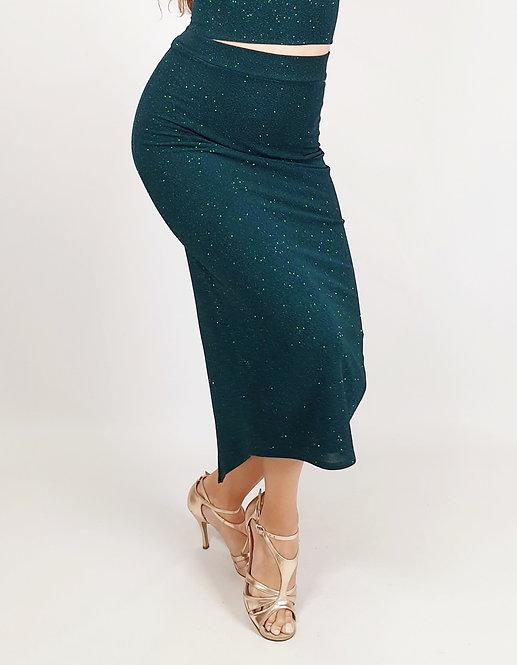 Daphne - Petrol Green Shiny Tango Skirt