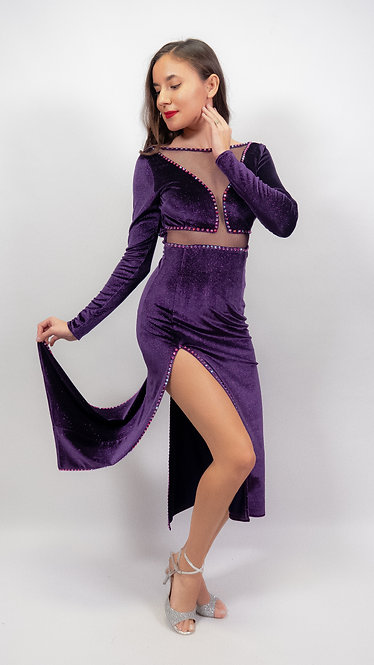 Cecilia  Purple  Shiny Velvet Tango Show Dress