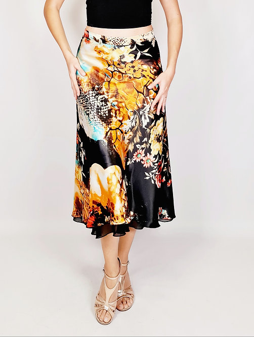 Flowy & Satin - Begonia Flower - Black Half Klosh Tango Skirt