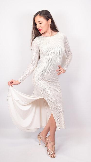 Stella - White Sequin Tango Show Dress